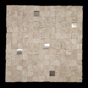 Pastilha Mosaico Spacatino Travertino com Inox Image